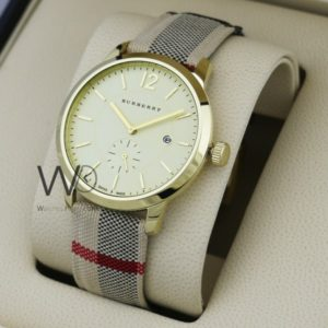 0173801a041 Burberry check engraved watch golden with leather multicolored belt
