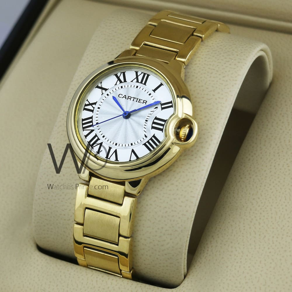 CARTIER WATCH WHITE WITH STAINLESS STEEL GOLDEN BELT | Watches Prime