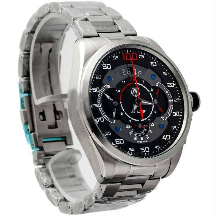 e8c83d00469 TAG HEUER GRAND CARRERA MERCEDES BENZ SLS CHRONOGRAPH WATCH BLACK WITH  STAINLESS STEEL SILVER BELT. SKU  38. Roll ...