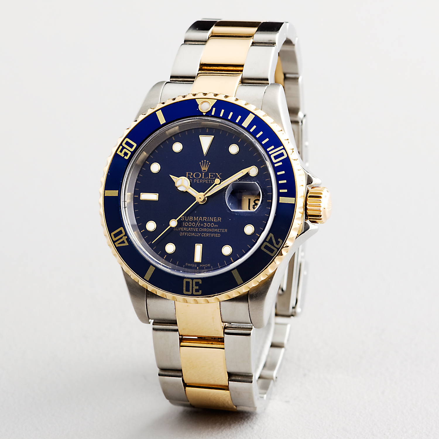 Rolex Oyster Perpetual Submariner Ceramic Bezel Watch Blue With Stainless Steel Silver Gold Belt