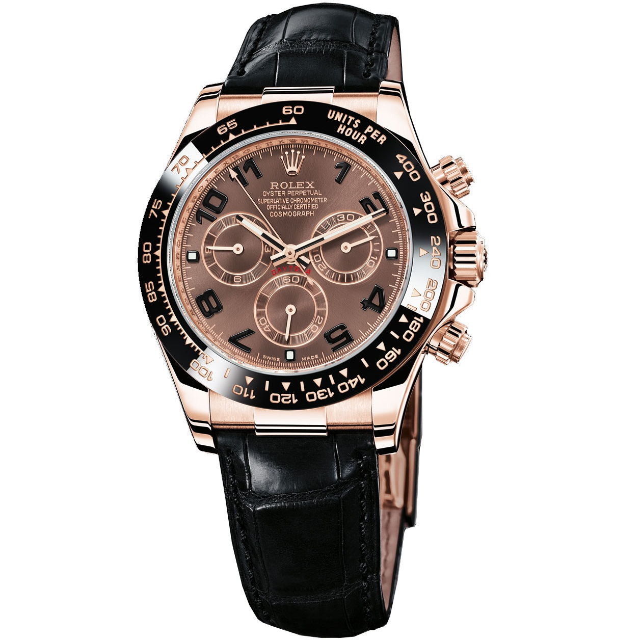 ROLEX OYSTER PERPETUAL SUPERLATIVE CHRONOMETER OFFICIALLY CERTIFIED  COSMOGRAPH DAYTONE WATCH BROWN WITH LEATHER BLACK BELT
