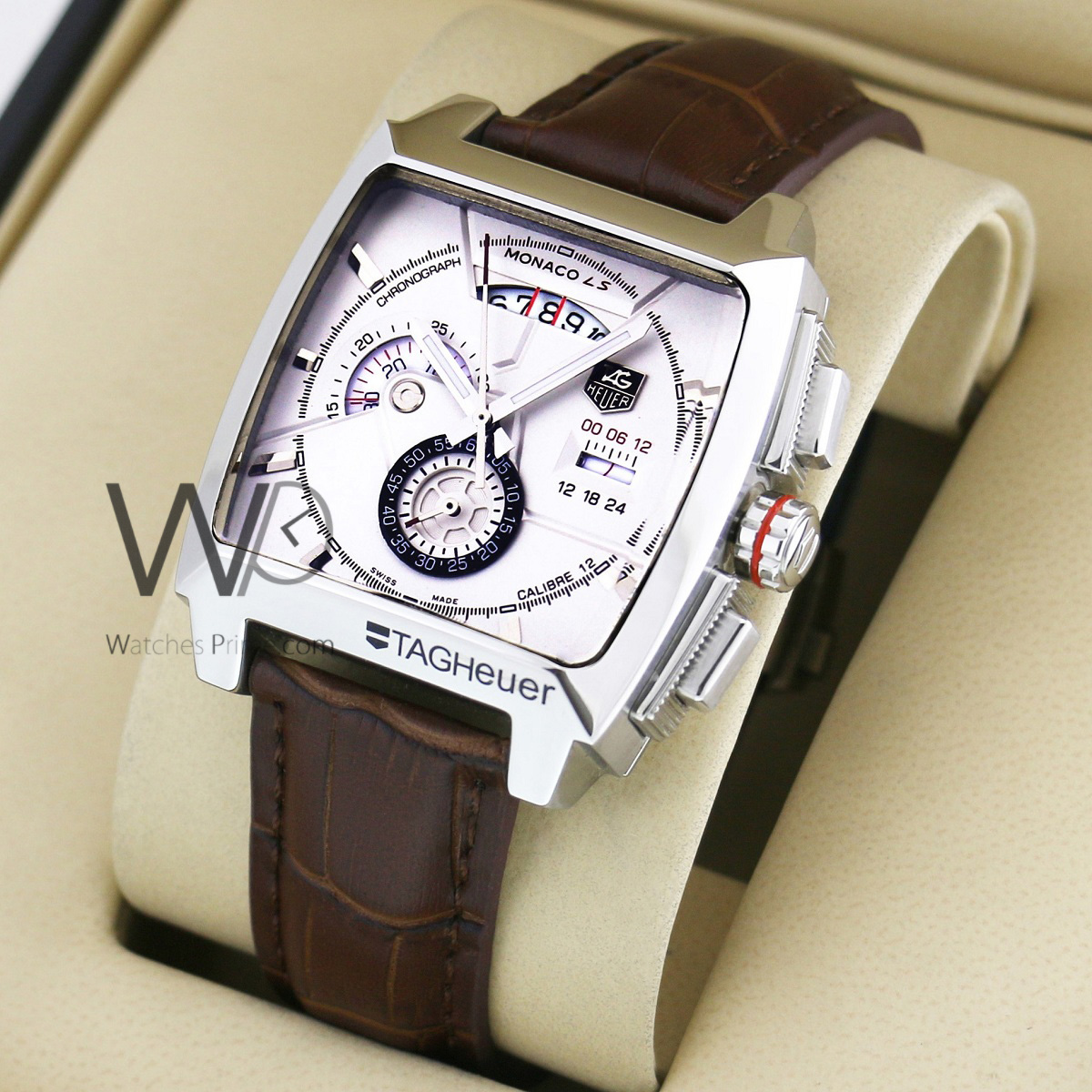 ceda3ab9665 TAG HEUER MONACO CALIBRE 12 LS CHRONOGRAPH WATCH WHITE WITH LEATHER BROWN  BELT. SKU  67. Roll ...