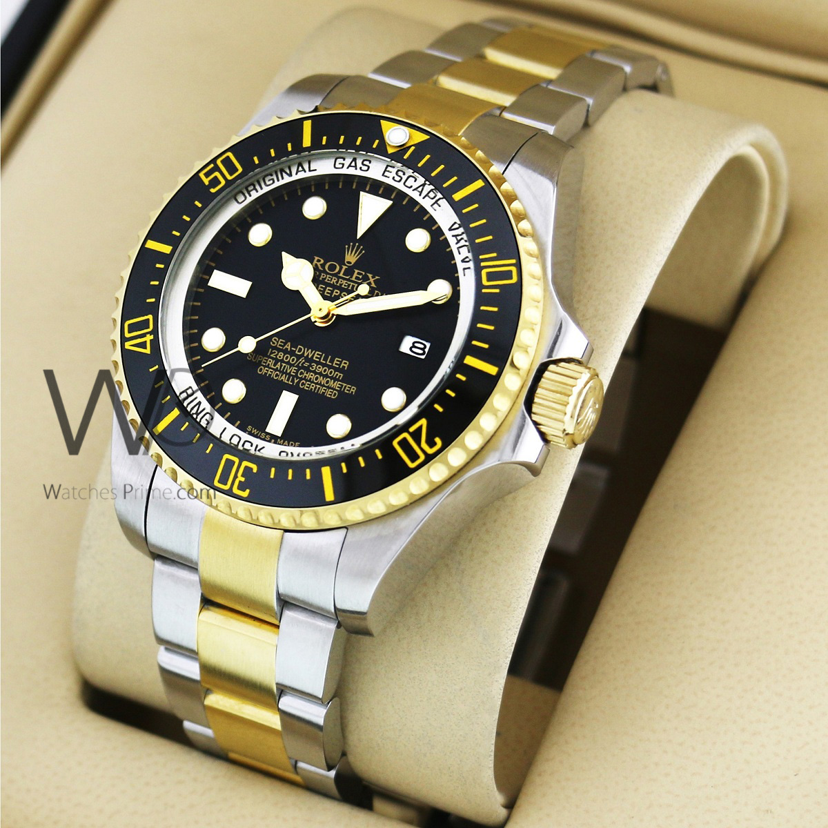 2c545edf9 ... CERAMIC BEZEL WATCH BLACK WITH STAINLESS STEEL SILVER&GOLD BELT. SKU:  309. Roll over image to zoom in