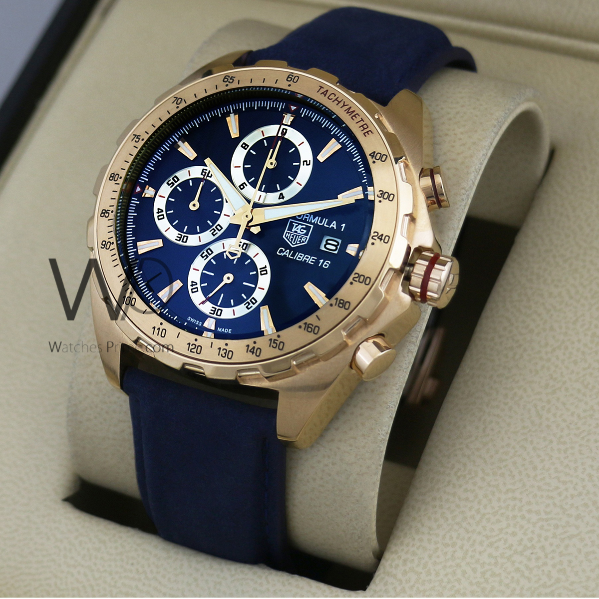 414b9f135145 TAG HEUER FORMULA 1 CALIBRE 16 CHRONOGRAPH WATCH BLUE WITH SUEDE BLUE BELT.  SKU  166. Roll over image to zoom in