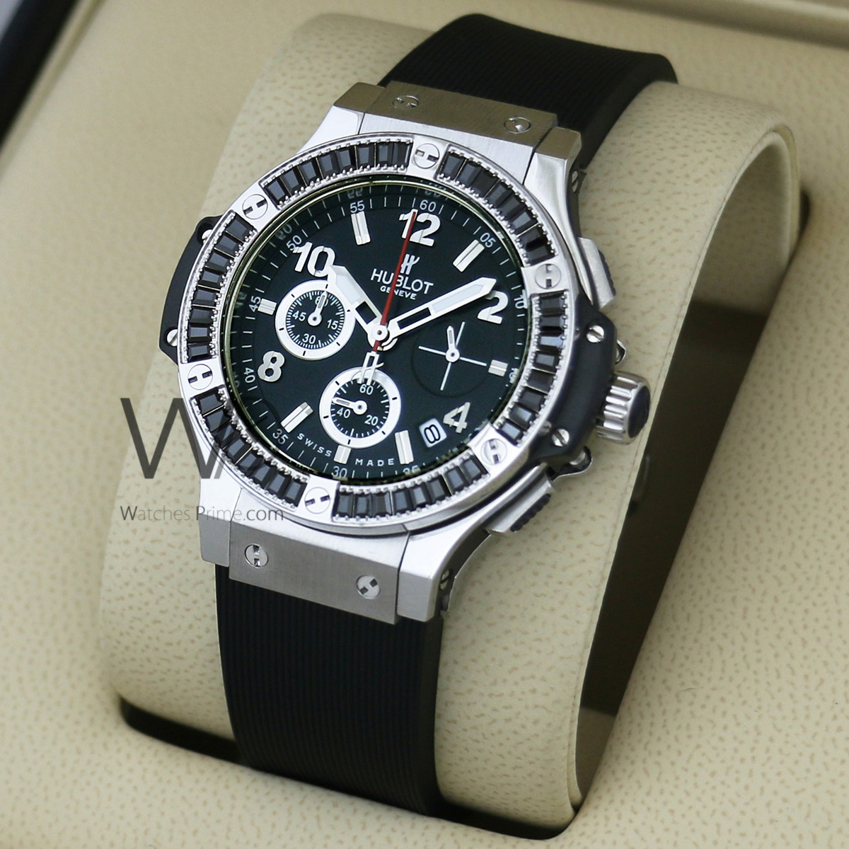 fad546d19 ... CHRONOGRAPH WATCH BLACK WITH RUBBER BLACK BELT. SKU: W708. Roll over  image to zoom in