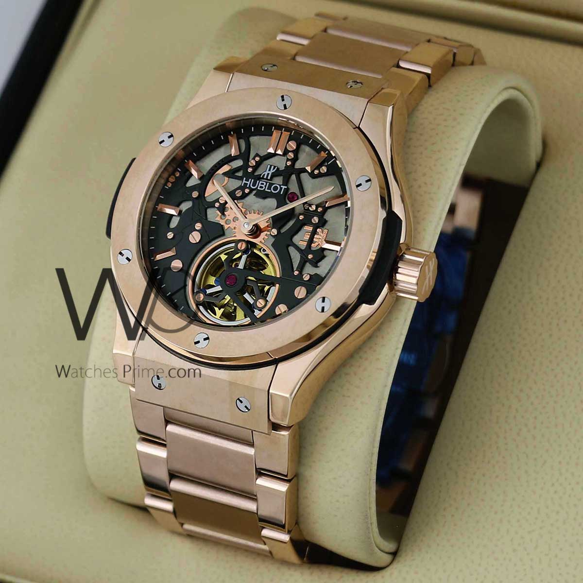 a24298b7b1ab6 ... chronograph watch black with stainless steel rose gold belt. SKU  711.  Roll ...