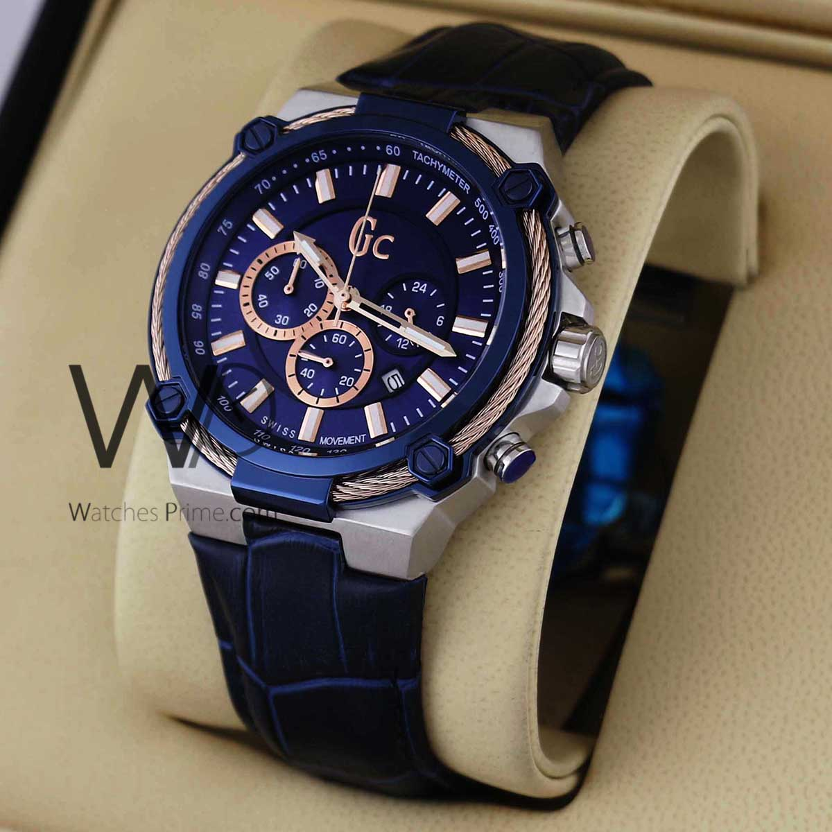 068a68f2591d1 GUESS COLLECTION CHRONOGRAPH BLUE WITH LEATHER BLUE BELT