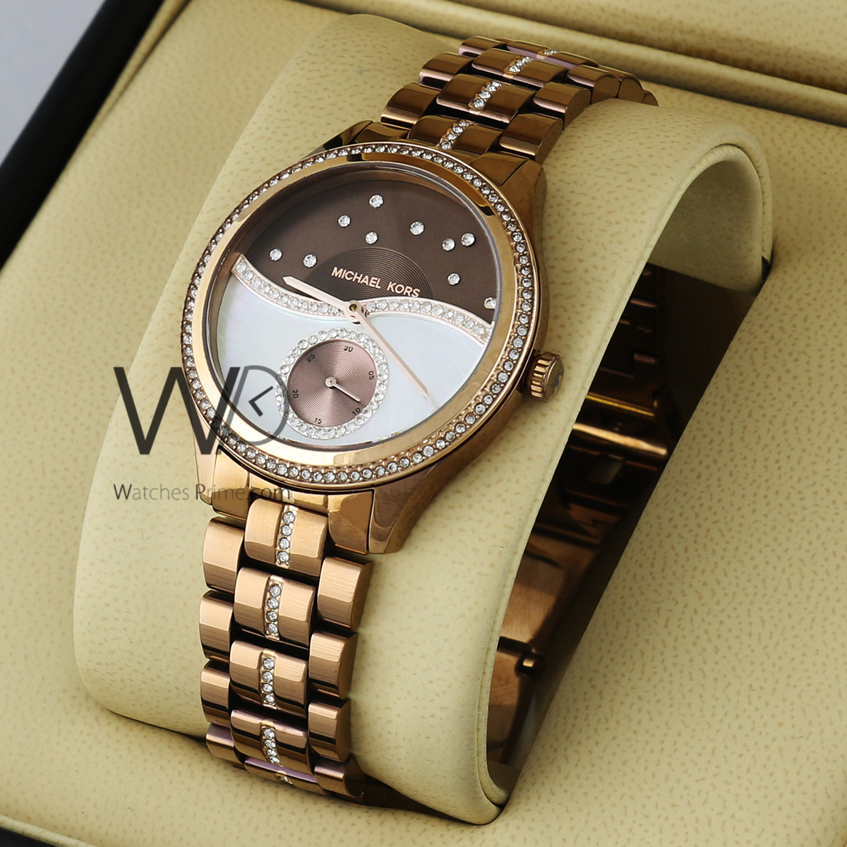 4ccf37d867b2d MICHAEL KORS WATCH BROWN WITH STAINLESS STEEL ROSE GOLD BELT. SKU: W1727.  Roll over image to zoom in