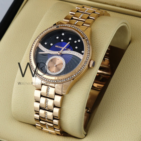 34dfa54ec2d43 MICHAEL KORS WATCH BLACK WITH STAINLESS STEEL ROSE GOLD BELT. SKU: W1728.  Roll over image to zoom in