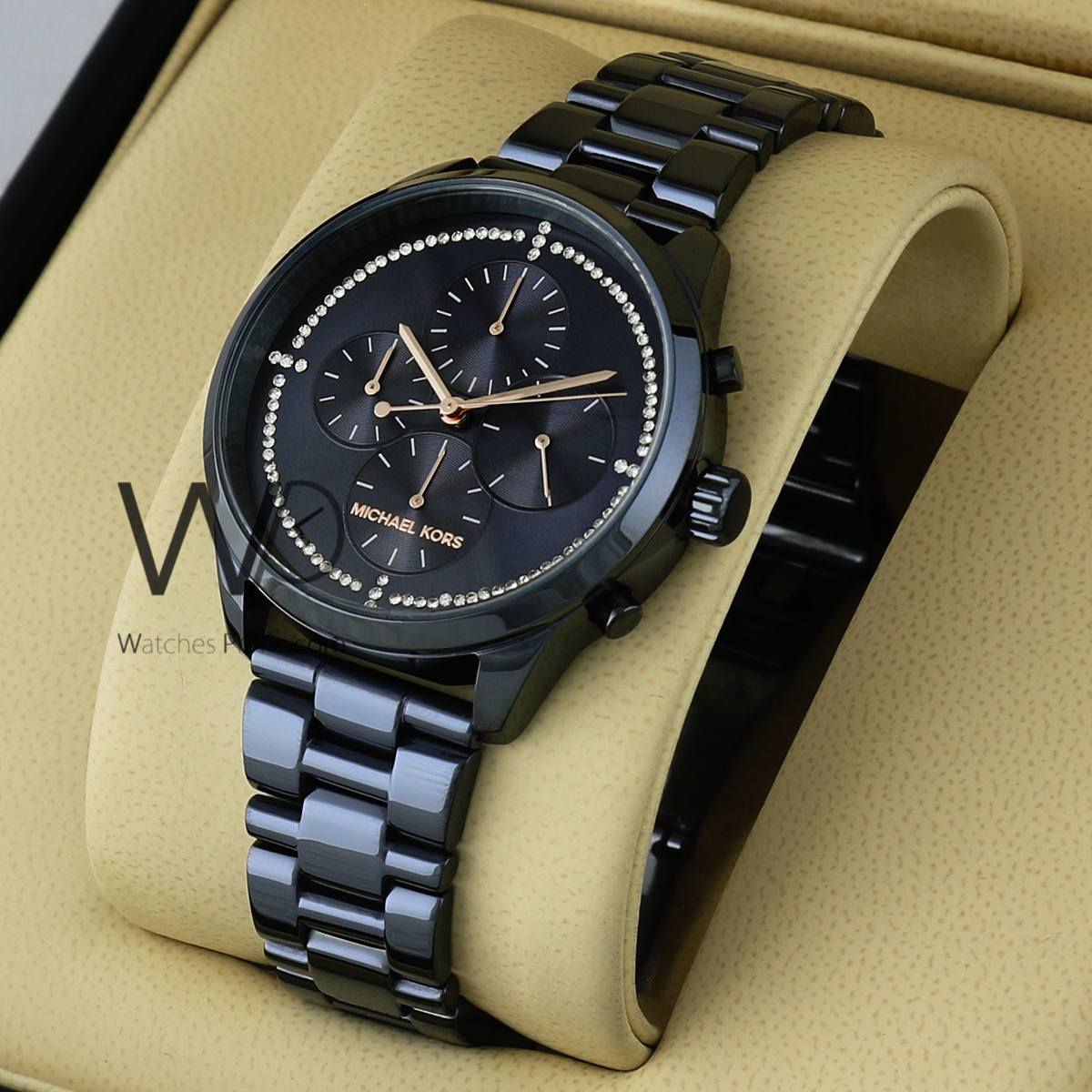 0d0b19debeccc MICHAEL KORS WATCH BLACK WITH STAINLESS STEEL BLACK BELT. SKU: W1731. Roll  over image to zoom in