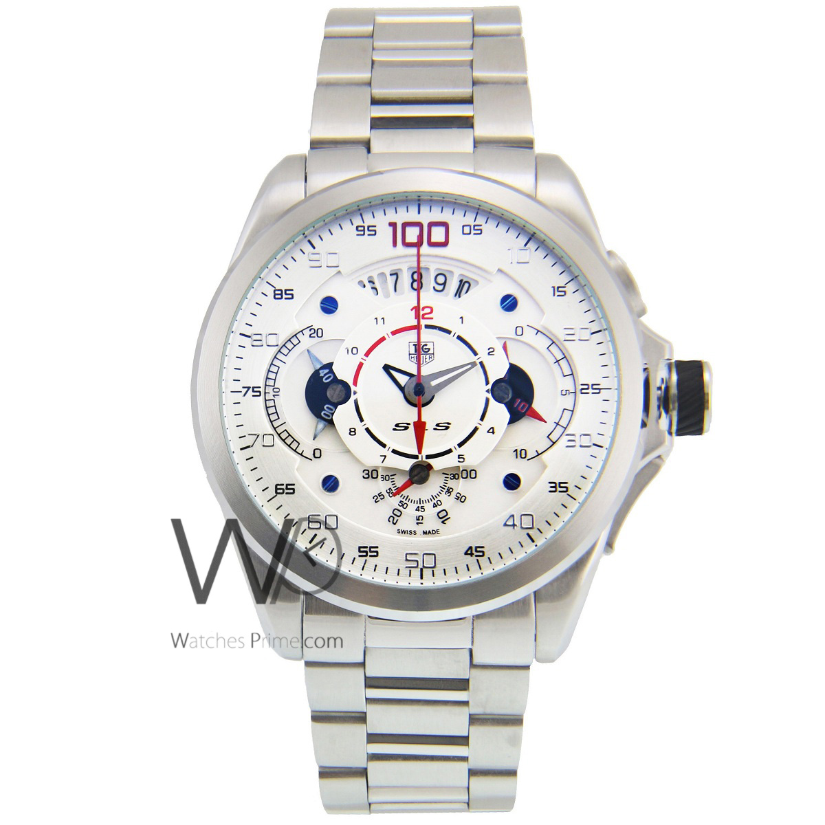 81cd9bcd62e TAG HEUER GRAND CARRERA MERCEDES BENZ SLS CHRONOGRAPH WATCH WHITE WITH  STAINLESS STEEL SILVER BELT. SKU  48. Roll ...