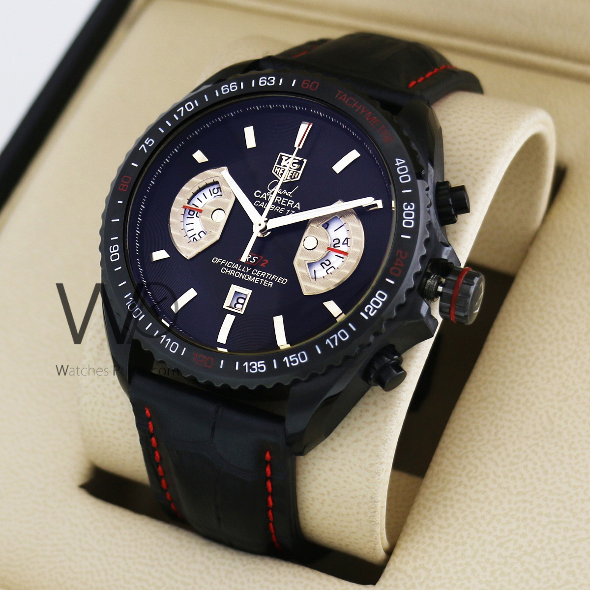 cfbd81ad771d TAG HEUER GRAND CARRERA CALIBRE 17 CHRONOGRAPH WATCH BLACK WITH LEATHER  BLACK BELT. SKU  176. Roll ...