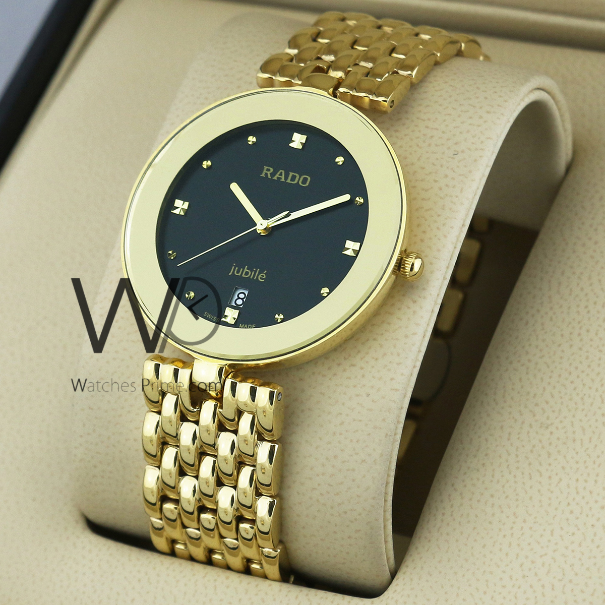 abc2a6eab RADO WATCH BLACK WITH STAINLESS STEEL GOLDEN BELT. SKU: 1256. Roll over  image to zoom in