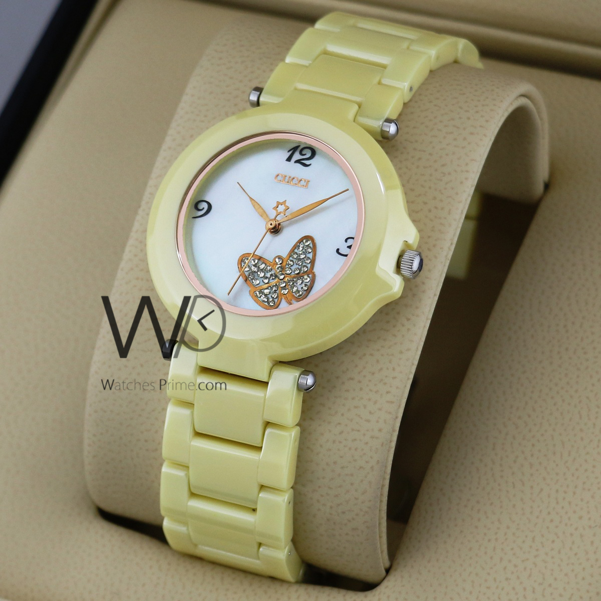 e78bbcb93fe GUCCI WATCH WHITE WITH CERAMIC YELLOW BELT. SKU  w1916. Roll over image to  zoom in