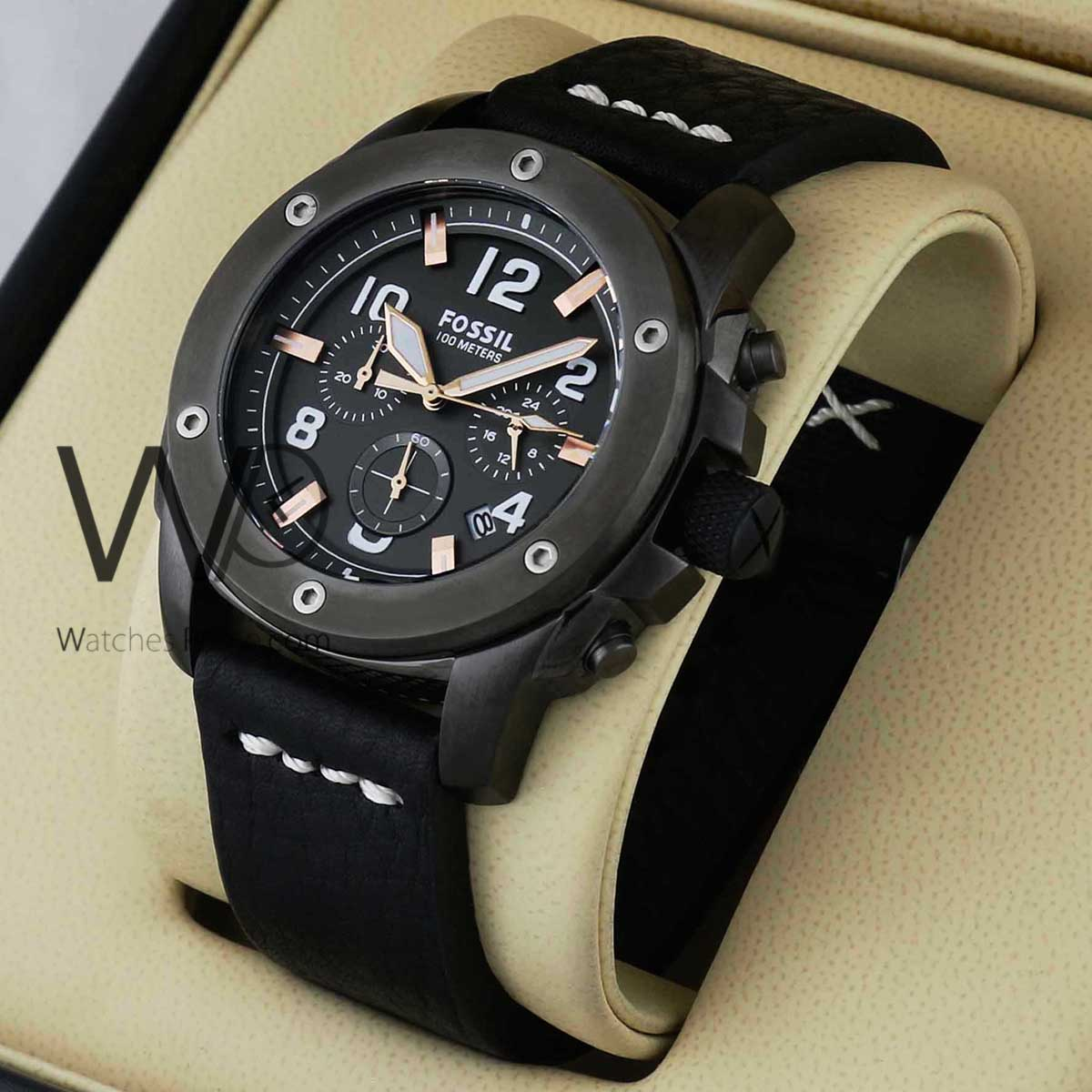 3c4d0fa36990d FOSSIL CHRONOGRAPH Black WITH LEATHER Black BELT