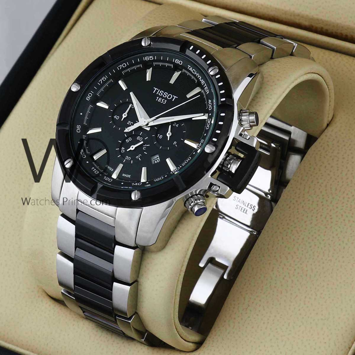 d61cad634 TISSOT CERAMIC CHRONOGRAPH WATCH BLACK WITH STAINLESS STEEL SILVER&BLACK  BELT. SKU: 553. Roll over image to zoom in