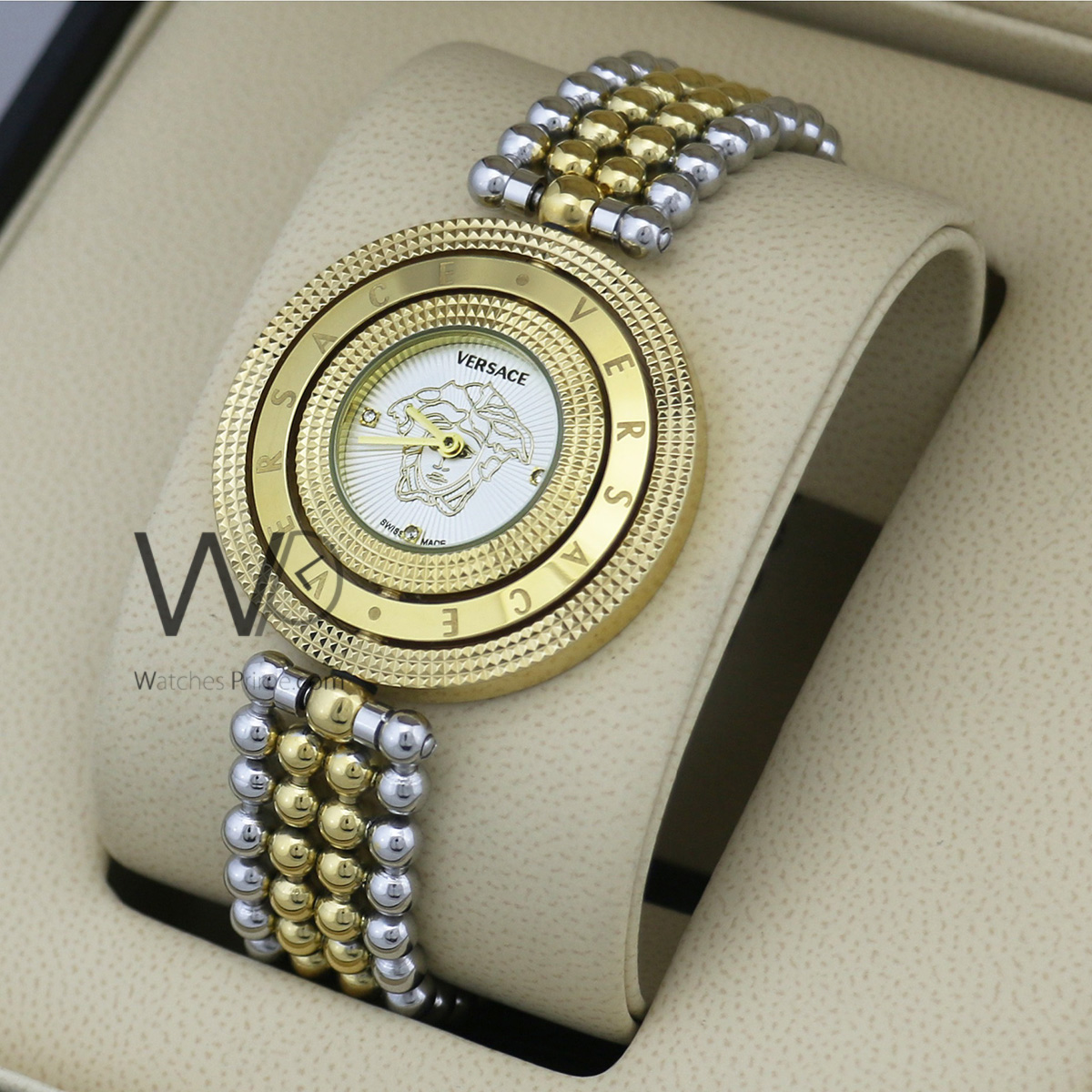 ab5853a8 versace watch white with stainless steel silver &golden belt