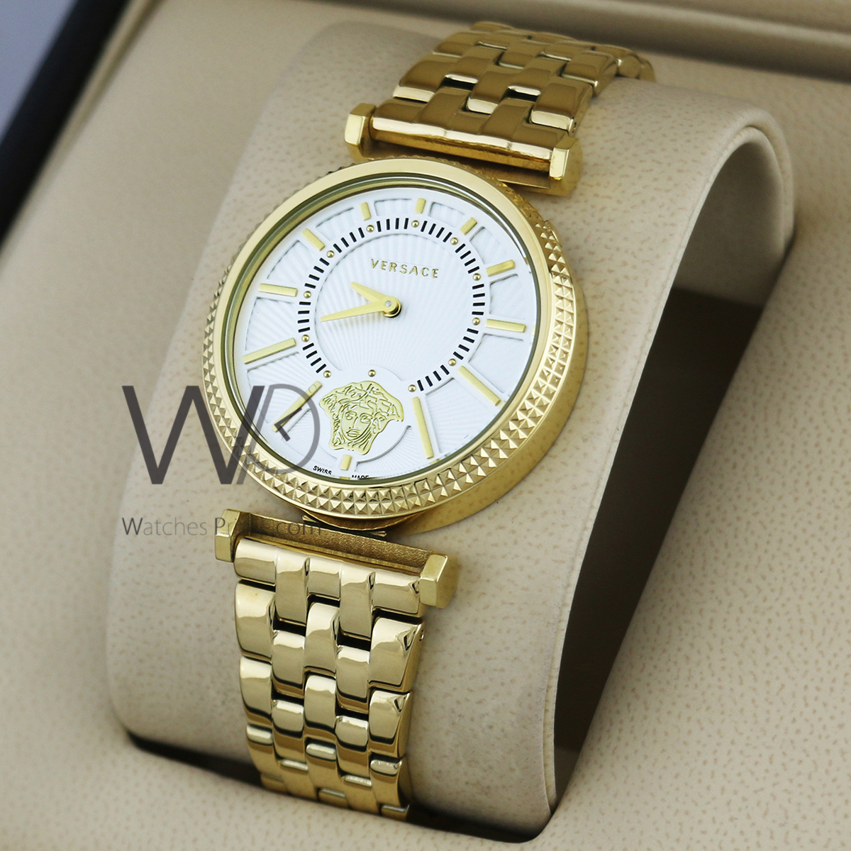 3757b01b versace watch white with stainless steel golden belt