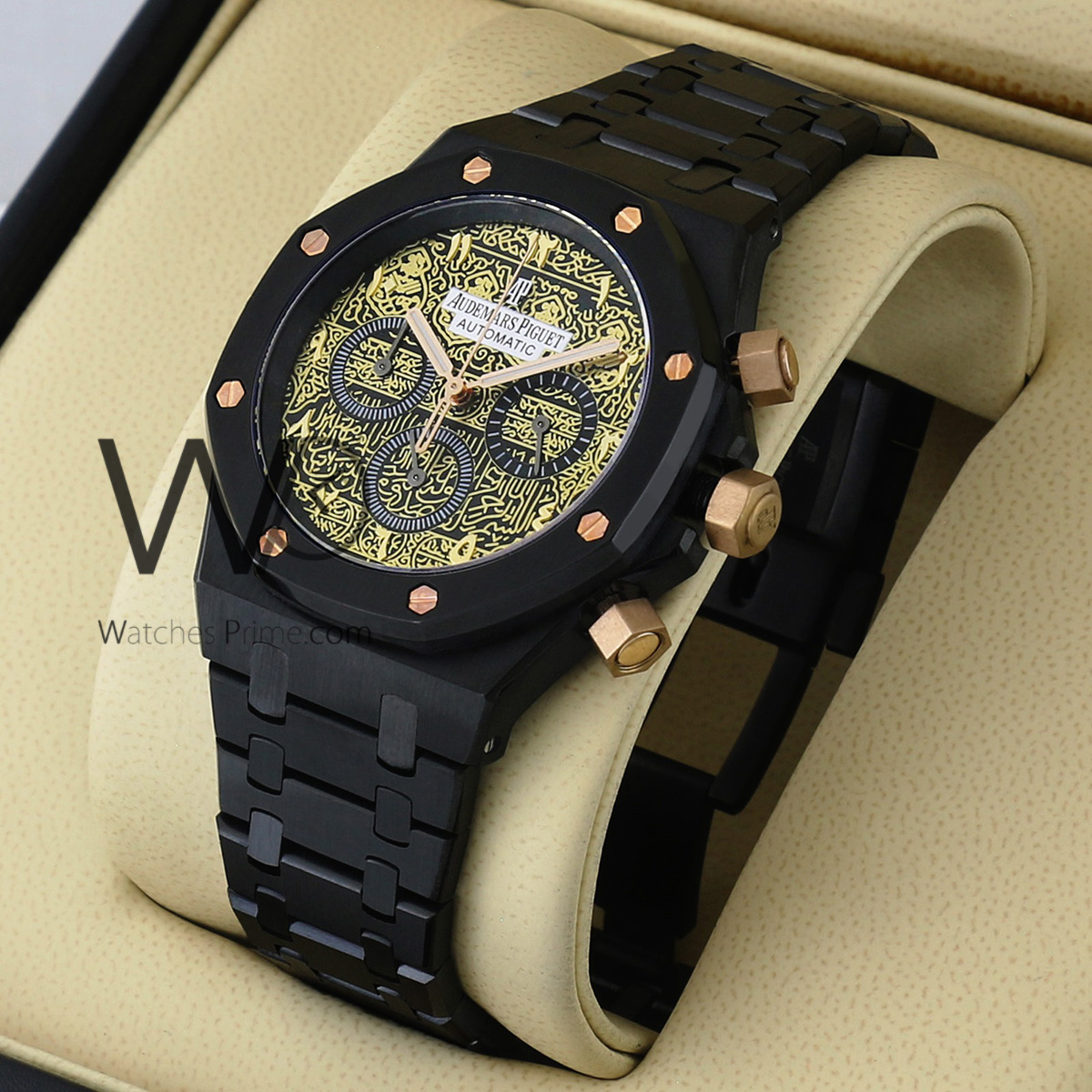 9cc7dfb35 AUDEMARS PIGUET ROYAL OAK OFFSHORE CHRONOGRAPH WATCH BLACK WITH STAINLESS  STEEL BLACK BELT. SKU: 675. Roll ...