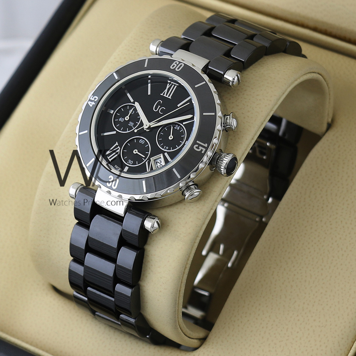 20993f34e GUESS COLLECTION CHRONOGRAPH WATCH BLACK WITH CERAMIC BLACK BELT. SKU:  w1639. Roll over image to zoom in