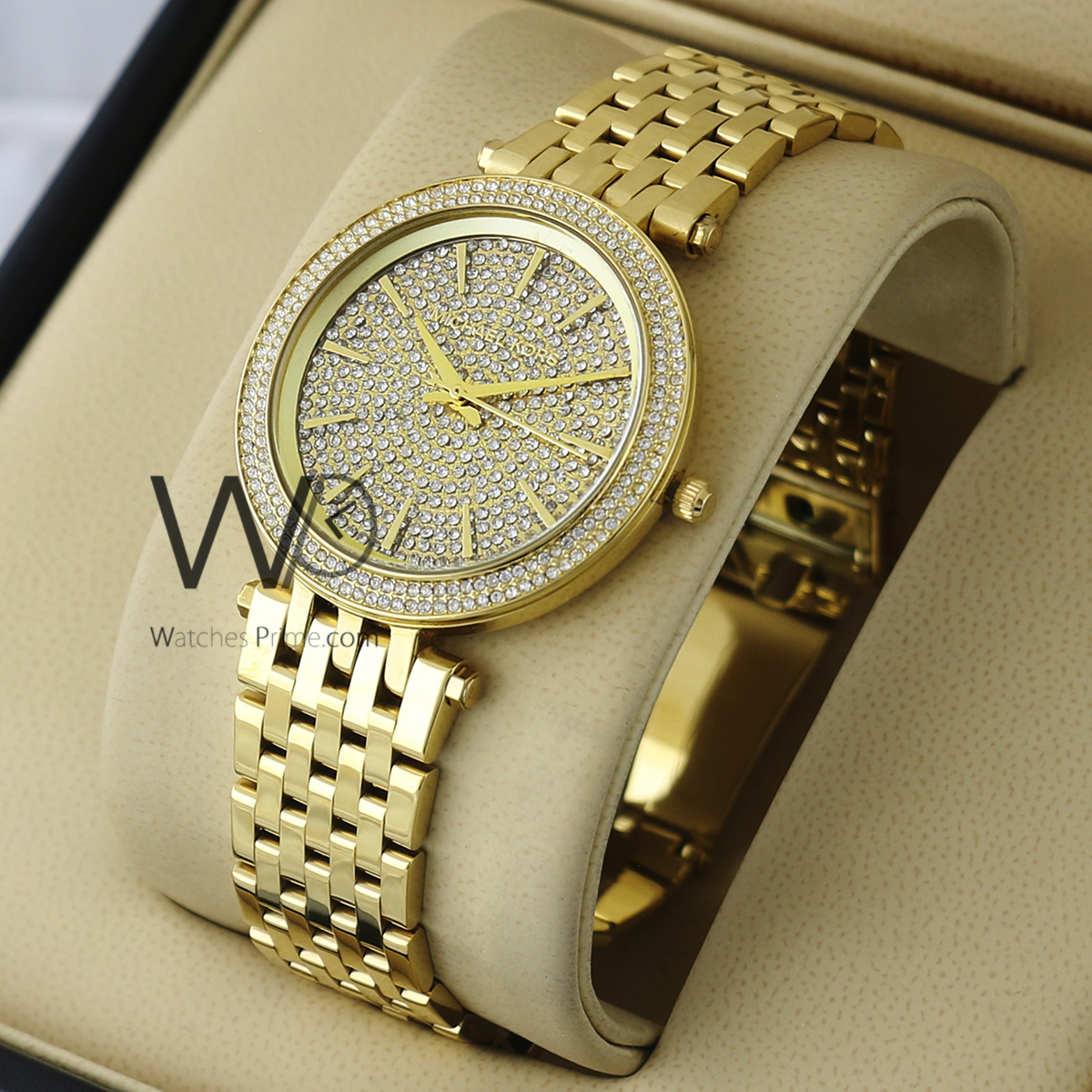 f9c7dd021d141 MICHAEL KORS CHRONOGRAPH WATCH GOLD WITH STAINLESS STEEL GOLD BELT. SKU:  w1742. Roll over image to zoom in