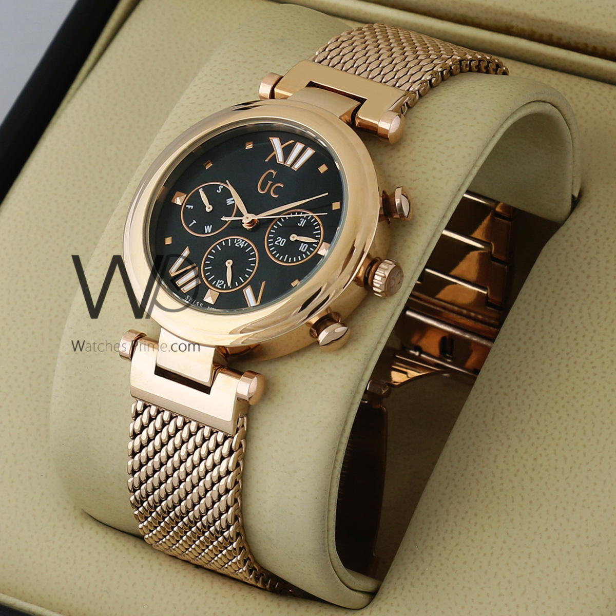 Guess Collection Chronograph Watch Black With Stainless Steel Rose Gold Belt