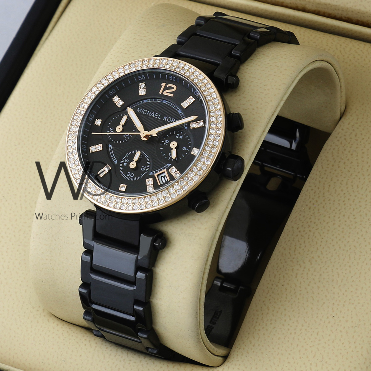 39b3c5cff4d6b MICHAEL KORS CHRONOGRAPH WATCH BLACK WITH STAINLESS STEEL BLACK BELT. SKU:  W1763. Roll over image to zoom in