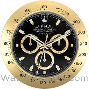 Rolex Wall Clock Daytona Black Dial Gold Bezel
