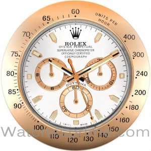 Rolex Wall Clock Daytona White Dial Rose Gold Bezel