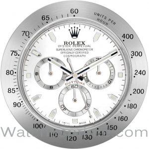 Rolex Wall Clock Daytona White Dial Silver Bezel