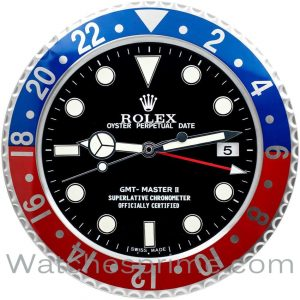 Rolex Wall Clock GMT Master II Series Black Dial Black and Red Bezel
