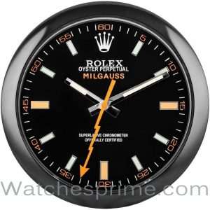 Rolex Wall Clock Milgauss Black Dial Black Bezel Orange hand