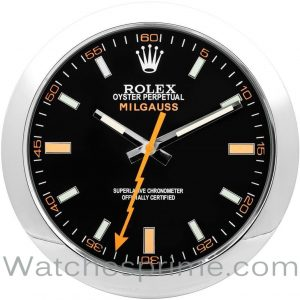 Rolex Wall Clock Milgauss Black Dial Silver Bezel Orange hand