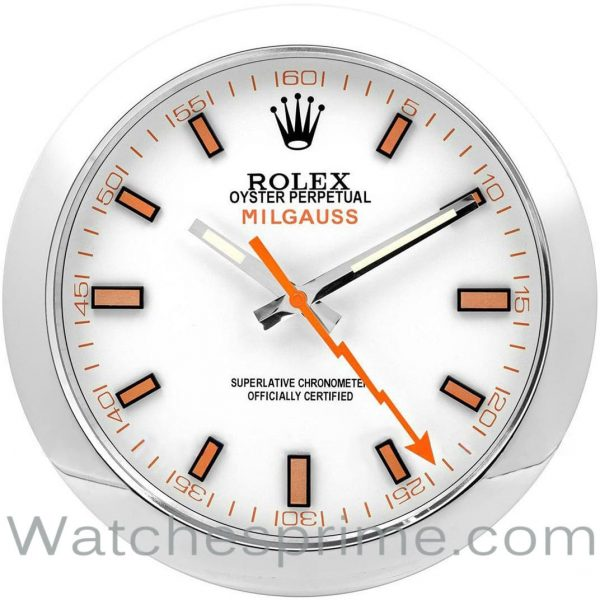 Rolex Wall Clock Milgauss White Dial Silver Bezel Orange hand
