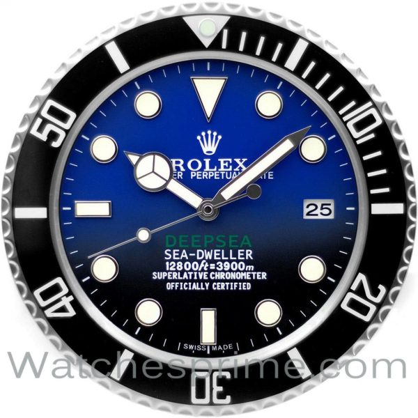 Rolex Wall Clock Sea-Dweller Deepsea Blue and Black Dial Black Bezel
