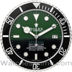 Rolex Wall Clock Sea-Dweller Deepsea Green and Black Dial Black Bezel