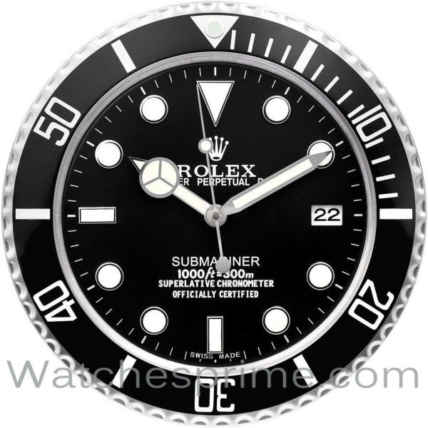 Rolex Wall Clock Submariner Black Dial Black Bezel