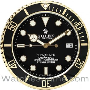 Rolex Wall Clock Submariner Black Dial Black and gold Bezel