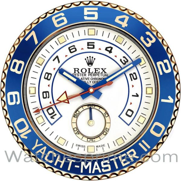 Rolex Wall Clock Yacht-Master II White Dial Blue and Gold Bezel