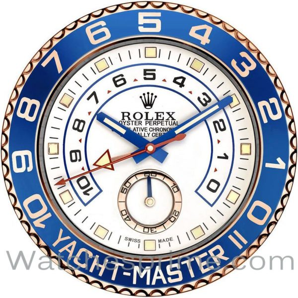 Rolex Wall Clock Yacht-Master II White Dial Blue and Rose Gold Bezel