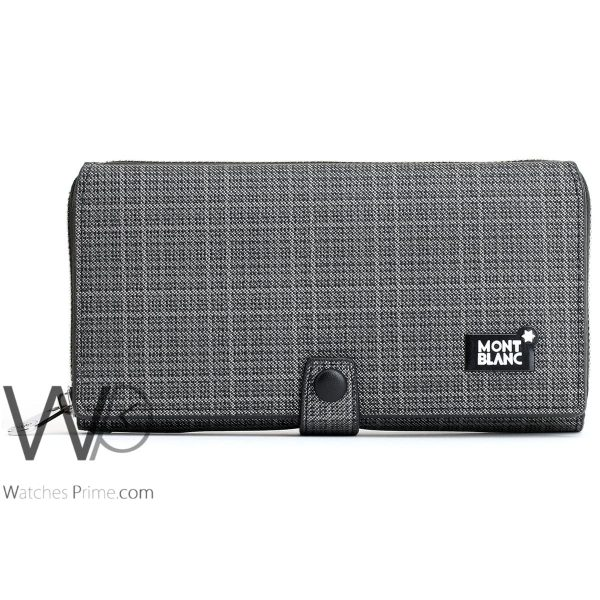 striped black and white colored montblanc hand wallet bag for men