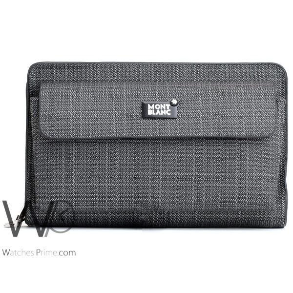 striped black and white colored montblanc hand wallet bag men