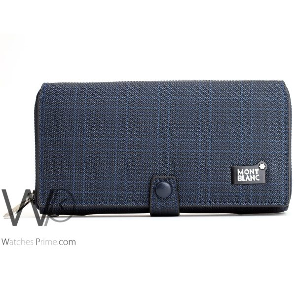 striped blue and white colored montblanc hand wallet bag for men