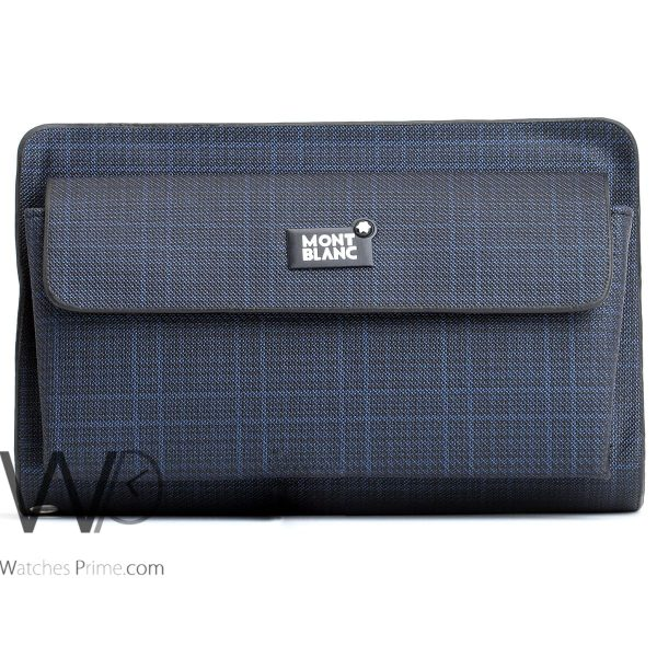 striped blue and white colored montblanc hand wallet bag men