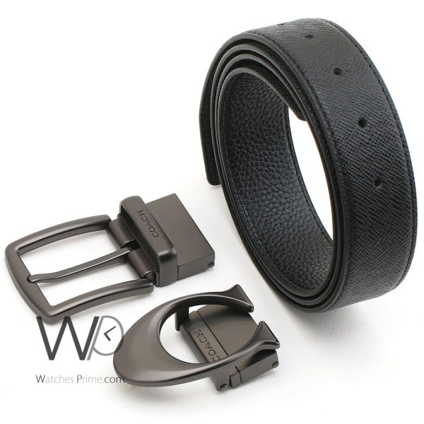 Coach-new-york-leather-black-belt-for-men-two-buckle-gift-box