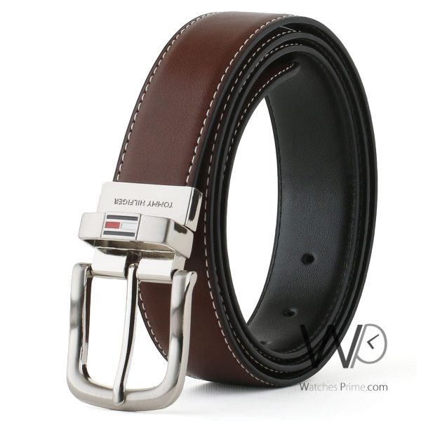 tommy hilfiger leather brown belt with box for men