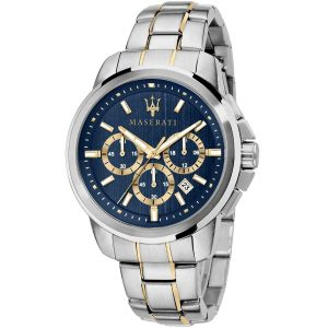 R8873621016 maserati watch quartz chronograph mens blue dial silver gold stainless steel metal successo