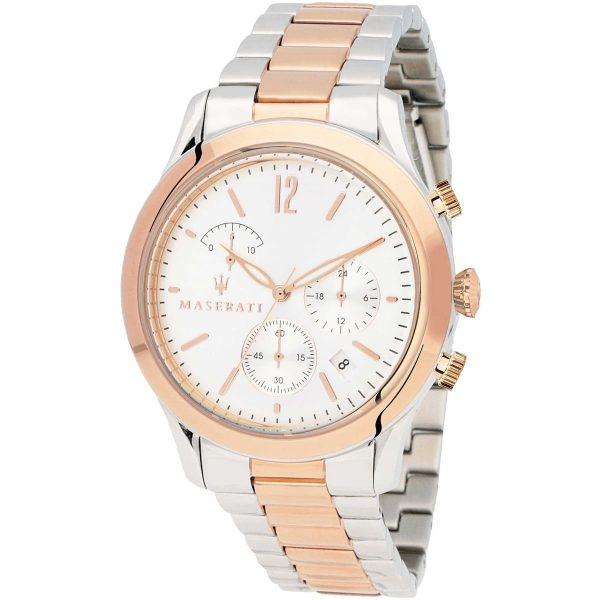 R8873625001 maserati watch quartz chronograph mens white dial silver rose gold stainless steel metal tradizione