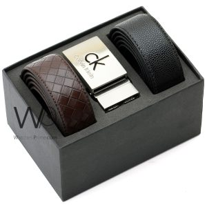 calvin klein for men black and brown leather belt box